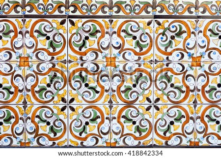 Old traditional Portuguese ceramic tiles - stock photo