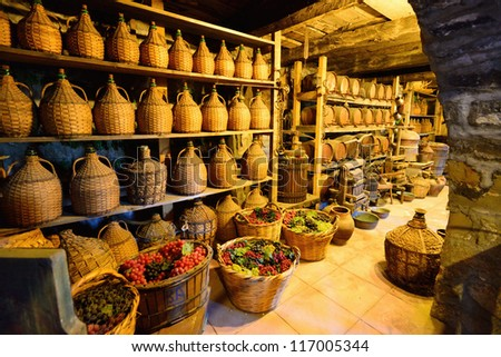 Old traditional storage inside a Greek monastery at Meteora - stock photo