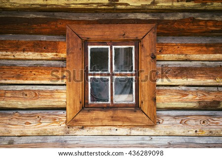 old traditional wooden farmhouse old window