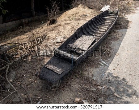 Old traditional wooden rowboat