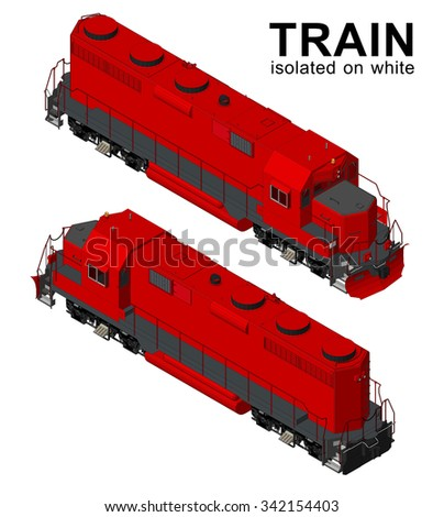 Old Train, Railway transportation isolated on white background. railroad industry concept.