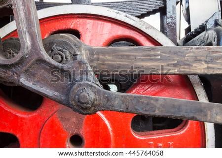 Old train wheel detail. - stock photo