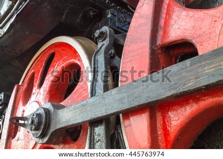Old train wheels detail. - stock photo