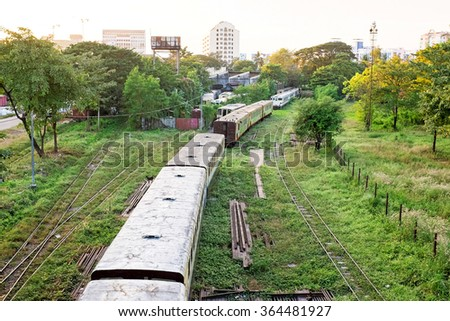 Old trains near Yangon in Myanmar