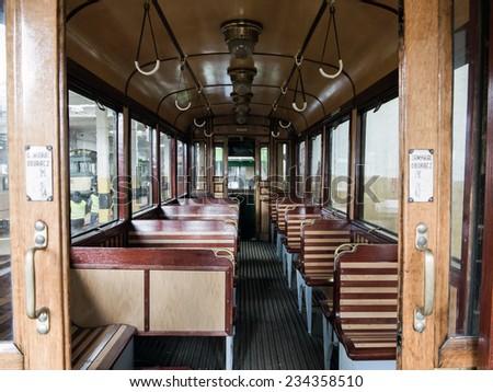 Old tram interior - stock photo