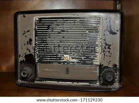 Old transistor radio - stock photo