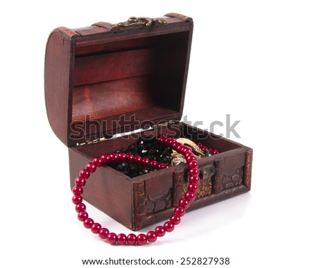 old treasure chest with jewelry  on white