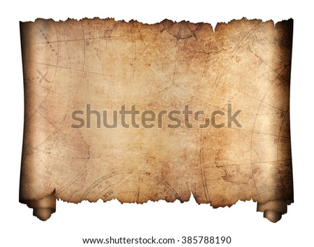 old treasure map roll isolated on white - stock photo