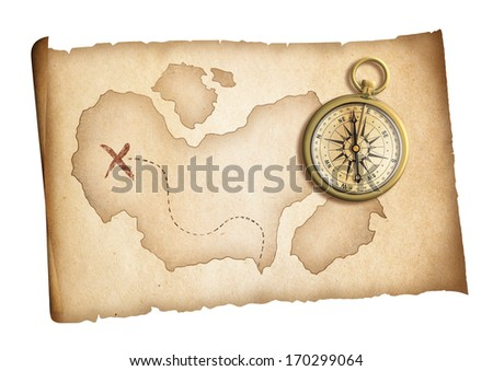 old treasure map with brass compass isolated on white - stock photo