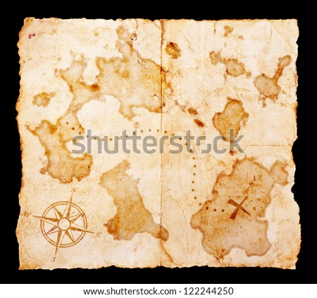 Old treasure map with clipping path