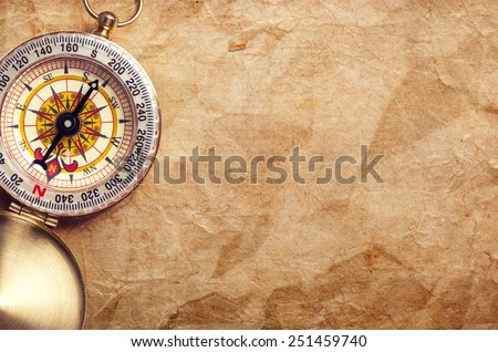 old treasure map with compass - stock photo