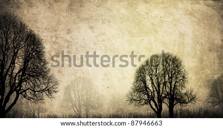 old trees background in autumn with texture - stock photo