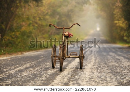 old tricycle for children - stock photo