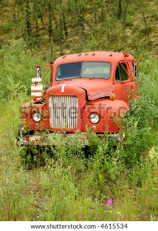 Old truck in thick bushes, Alaska