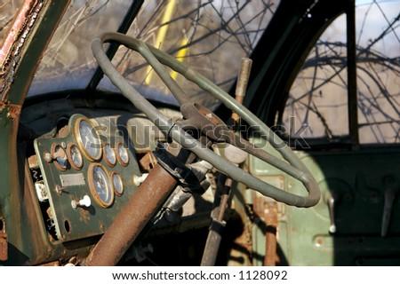 Old Truck Interior - stock photo