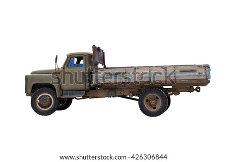 Old truck isolated on white background  - stock photo