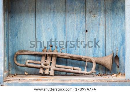 old trumpet - stock photo