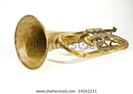 old trumpet with missing parts - stock photo