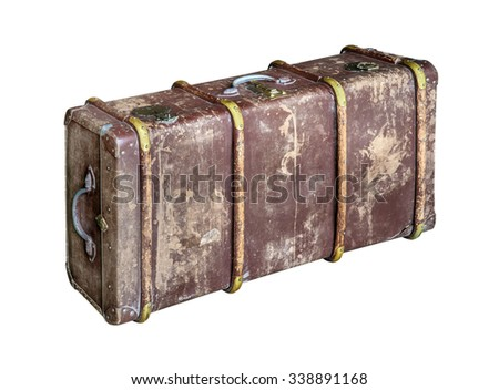 Old trunk (chest) isolated on white background