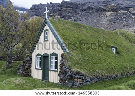 Old turf church and cemetery in Iceland