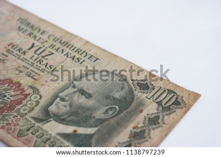 Old Turkish Money İsolated White Background. Old Turkey Money.  A Hundred Turkish Lira. Turkish old Money Picture.