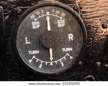 Old turning indicator on aviator aircraft. - stock photo