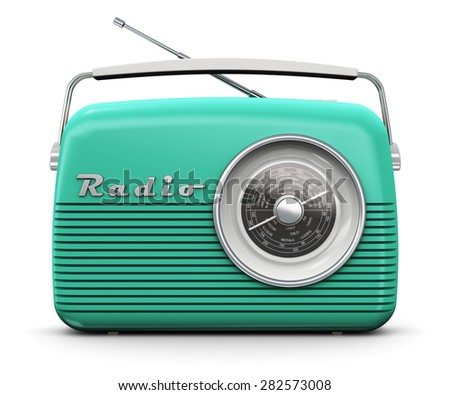 Old turquoise or green vintage retro style radio receiver isolated on white background - stock photo