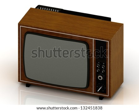 Old TV in the wooden case 1970 release on a white background - stock photo