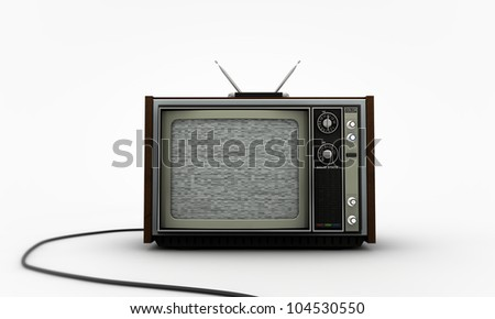 old tv isolated on white background - stock photo