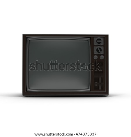 Old TV isolated on white 3D Illustration