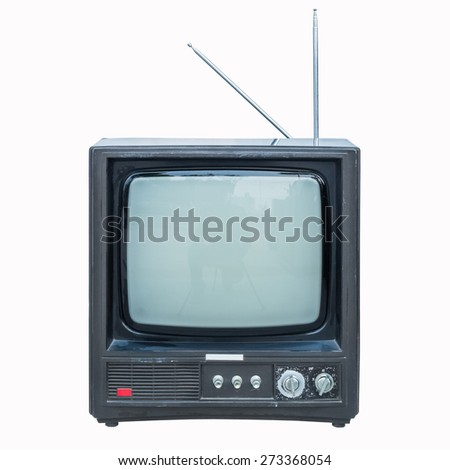 old tv isolated on white with clipping path - stock photo