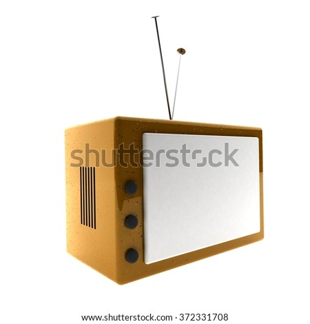Old tv isolated over white, 3d render - stock photo