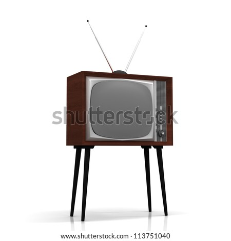 Old TV on legs with antenna - stock photo