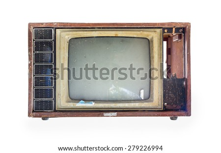 Old TV on the isolated white background. - stock photo
