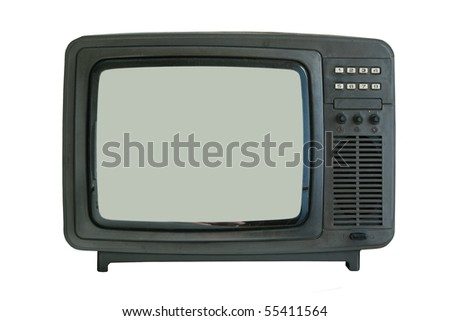old tv-set isolated - stock photo