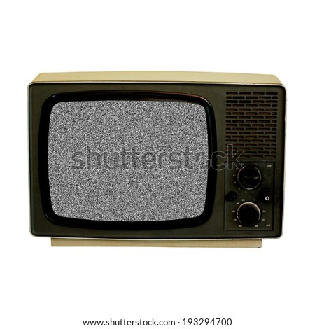 old TV set with static screen - stock photo