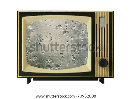 old tv-set with wet display - stock photo