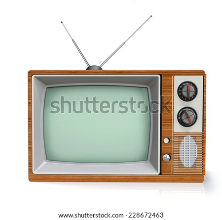 old tv with antenna front view isolated on white background, 3D render