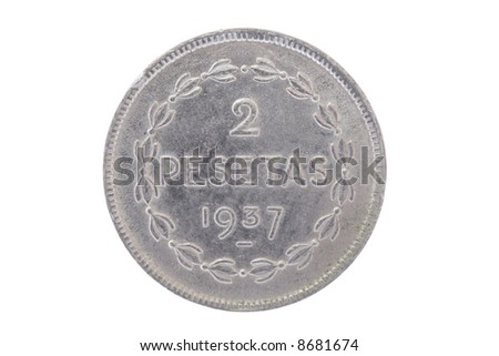 Old two pesetas coin from the Euzcadi goverment (Spain)