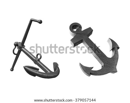 Old  two steel anchor isolated on a white background. This has clipping path. - stock photo