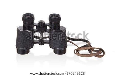 Old type of binoculars isolated on a white background - stock photo