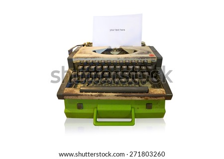 Old type writer in Thai keyboard with paper sheet isolated on white - stock photo