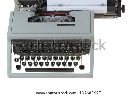 old type writer isolated over white background