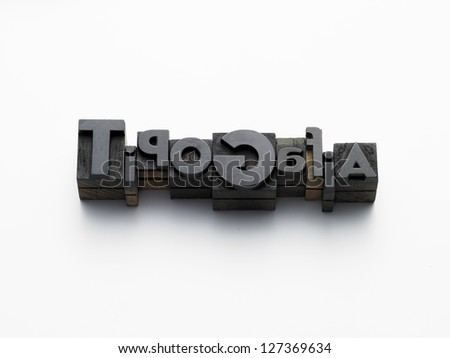 old typefaces in composition on a white background - stock photo