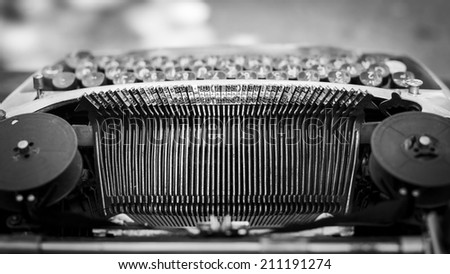Old typewriter. Black and white - stock photo