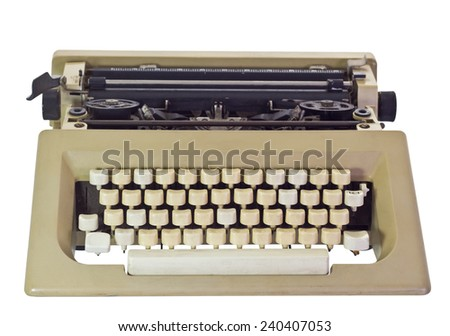 Old Typewriter, isolated on white background and clipping path