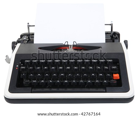 old typewriter isolated on white with clipping path - stock photo