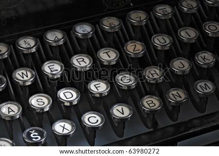 Old typewriter keys. - stock photo