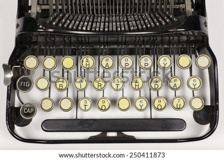 Old typewriter keys rearranged to say HAPPY BIRTHDAY TO YOU