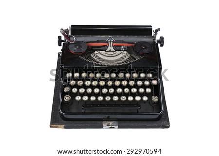 Old Typewriter machine isolated on a white background - stock photo
